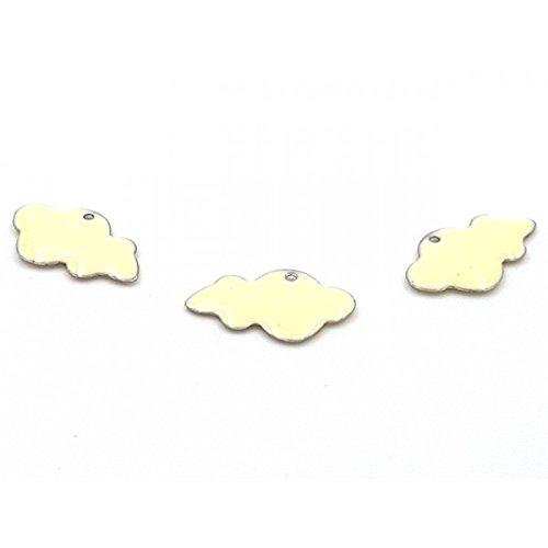 Creafirm 10 breloques émaillées nuages 25mm couleur blanc ivoire