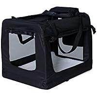dibea TB10022 Hundetransportbox Hundetasche Faltbare Autobox Kleintiertasche (Größe und Farbe wählbar), schwarz