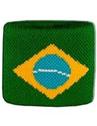 Digni® Poignet éponge avec drapeau Brésil - Pack de 2 pièces