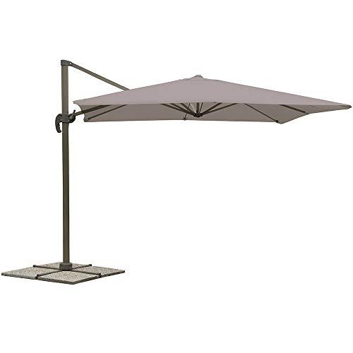 Bertozzi ombrellone decentrato quadrato da giardino in acciaio tortora 3x3m