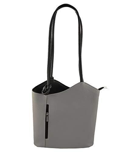 Freyday 2 in 1 Handtasche Rucksack Designer Luxus Henkeltasche aus Echtleder in versch. Designs (Glattleder Grau-Schwarz)