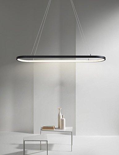 LED Pendelleuchte Dimmbar mit Fernbedienung Hängeleuchte Pendel Leuchte Beleuchtung Modern Kronleuchter Hängelampe für Wohnzimmer Esszimmer Esstisch Büro Eisen Acryl Lampe 64W , Schwarz