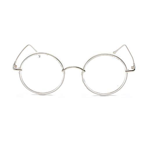 Cvthfyky Frauen und Männer Runde Full Frame Vintage Metall Flat Mirror Glasses Frame (Farbe : Clear)