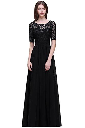 MisShow# Damen Elegant Spitzen Abendkleid Abschlusskleider Brautjungferkleid Navy Blau Gr.32-46, Schwarz, 36