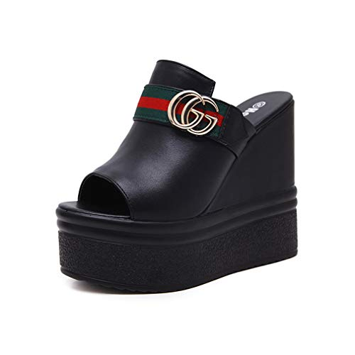 Sexy Platform Wedge (YAN Women es Platform Slippers Peep Toe Slippers & Flip-Flops Nightclub Sexy Wedges Schuhe Super High Heel Sandals White Black,Black,36)