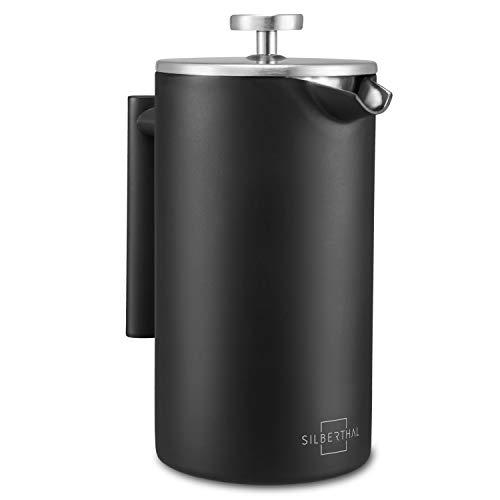 SILBERTHAL Cafetera émbolo individual acero inoxidable | French press 1 litro Cafetera francesa | Cafetera de piston | Cafetera infusión con filtro permanente para café negra