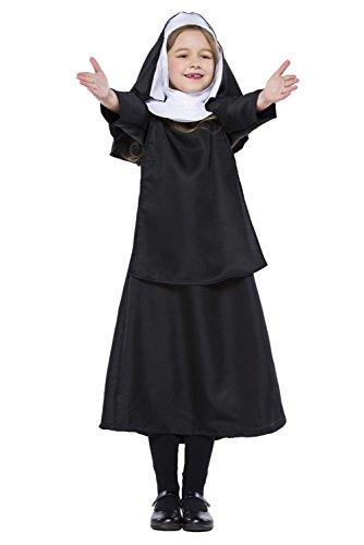 Joyplay Kinder Nonnen Kostüm, Kleid und Kopfbedeckung Schwarz XL (Nonne Kostüm Für Kinder)