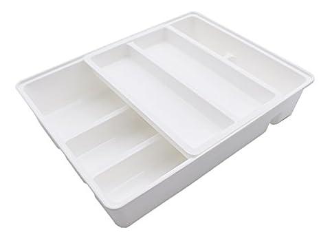 firstwish Double Mobile Rangement pour tiroir à couverts Couverts, 2en 1, 12x 9.5x 2.6, coloré, Plastique, blanc, L