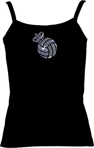 elegantes Shirt für Damen Strass Volleyball mit Krone Strass kristall Rot