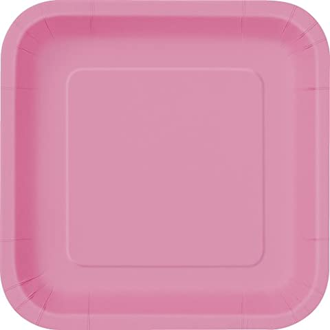 18cm Square Hot Pink Party Plates, Pack of 16