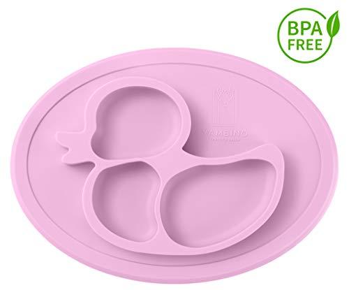 Piatto per bambini senza BPA e antiscivolo 27x20x20x3cm - Piatto per alimenti sicuro e testato - Progettato in Germania - piatti bambini piatto ventosa bambini a ventosa piatto YAMBINO (Rosa)