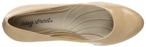 Easy Street Women's Passion Dress Pump,Black Patent,6 M US Taupe Crinkle Patent