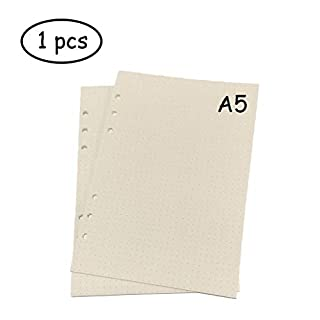 Lvcky A5 6-Ring Binder Planner Refill Paper File Paper Loose-Leaf Notebooks Paper (1 PCS 45 sheets/90pages) Standard Dots White Paper Style for Journals Notebooks Diaries Inserts