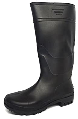 New Mens/Gents Black Full Length Rubber Waterproof Wellington Boots. - Black - UK SIZE 6