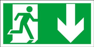 Fire Door Safety Sign - Fire Exit Running Man Down Arrow Sign by Perfect Safety Signs