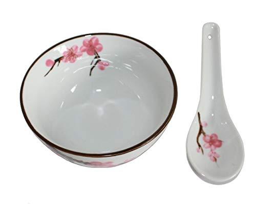 AAF Nommel - Reis- oder Teeschale Soba Bowl klein Sakura - Kirschblüte ø 11 cm mit passendem Löffel Nr. 778 - Löffel Mit Dessert-schalen