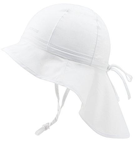 Maximo Nackenschutzmütze UV-Schutz Babymütze Mädchenmütze Strandmütze Bindemütze Sommermütze Kleinkind (MX-64500-427286-S16-BM0-1-47) in Weiß, Größe 47 inkl. EveryKid-Fashionguide Rosa Kleinkind-wagen