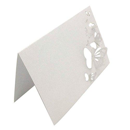 Hochzeit Platzkarten 50 Stück Schmetterlinge Laser Geschnitten Namen Platz Karten Hochzeitsgast Tischkarten (weiß) (Platz-karte)