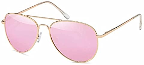 Premium Set, Pilotenbrille Verspiegelt Fliegerbrille Sonnenbrille Pornobrille Brille mit Federscharnier (85 | Rahmen Gold - Glas Pink/Rosa verspiegelt)