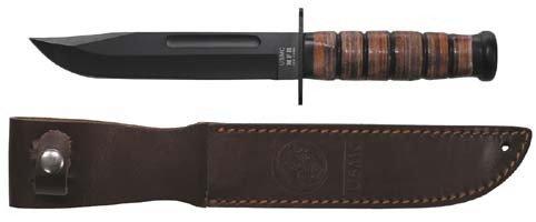 MFH Kampfmesser Usmc Griff Aus Lederringen Lederscheide - Cuchillo de caza, color negro