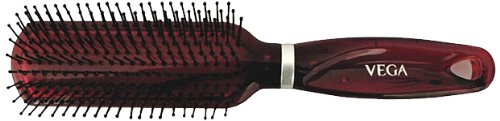 Vega Flat Brush with Tranparent Brown Colored Body and Black Bristles