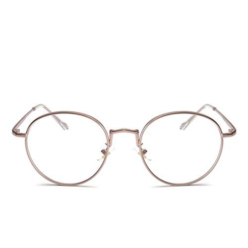 F Fityle Klassische Brille Metallgestell Brillenfassung Vintage Dekobrille Nerdbrille Glasses -...