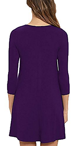Kris DIOSA Women's Long Sleeve Casual Dress Simple T-Shirt Loose Pocket Tunic Dress