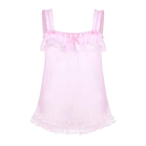 iEFiEL Herren Sissy Dessous Spitze Transparente Nachthemd Tüll Kleid Spaghetti Top Dessous Sleepwear Schlafanzug Rosa Rosa Large - Neu Herren Sexy Thong