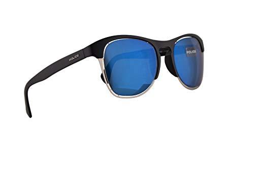 Police S1954M Sonnenbrille Matt Schwarz Mit blauen Verspiegelten Gläsern 51mm U28B S1954