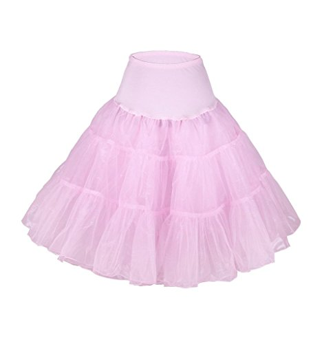 Eyekepper Jupe courte femme demoiselle taille haute de belle couleur fete dance party cocktail Rose