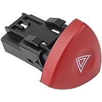 fengzong Interruptor de luz de Advertencia de Emergencia Intermitente de Advertencia Warnblinker Schalter para Renault Laguna Master Trafic II Vauxhall 01-14 (Negro + Rojo y Negro + Rojo)