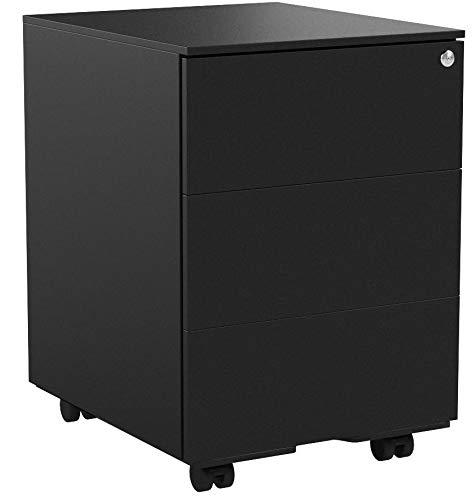 SONGMICS Rollcontainer, mobiler Aktenschrank, abschließbar, mit 3 Schubladen, Aufbewahrung von Akten, Büroutensilien, vormontiert, Büro, Home Office, 39 x 45 x 55 cm (L x B x H), Mattschwarz OFC63BK