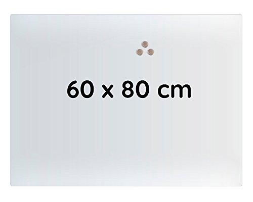 Lüllmann Memoboard Glas Magnettafel 60x80x0,4cm Glastafel Glasboard Whiteboard Wandtafel Magnet-Board (607420 Glastafel 60x80x0,4 cm, Weiß)