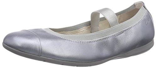 Clarks DanceBrite Jnr, Mädchen Geschlossene Ballerinas, Silber (Silver Leather), 39 EU