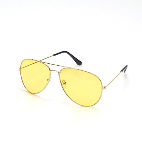 VOSO Night Driving Pilot Aviator Frame Yellow lens Sunglasses Unisex 100% UVA&UVB (Gold, Yellow)