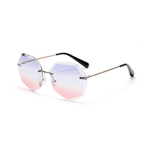 Shengjuanfeng-brillen Diamond Cut Marine Color Sonnenbrille, ohne Rahmen, Polygone, Mode Accessoires (Farbe : Pink/Blue)