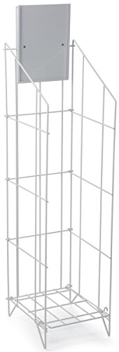 Displays2go Floor Newspaper Rack, Papers/Magazines, Sign Header, Folding, White Steel (LRWRC912WT) by Displays2go (Folding Rack Magazine)
