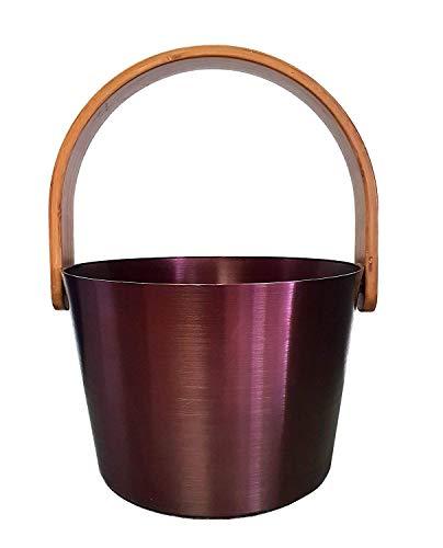 SudoreWell® Saunaeimer Sauna-Aufgusseimer 5,0 l aus ALU (anthrazit-rosé) mit Bügelgriff aus Bambus -