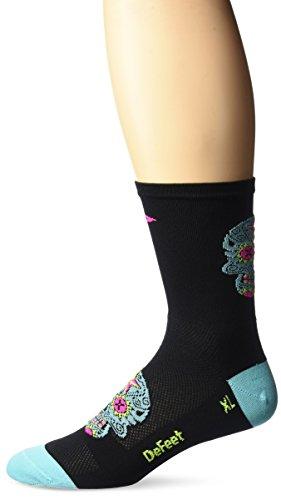 Defeet Aireator hoch Sugarskull Socken, Damen Jungen Mädchen, Black/Neptune