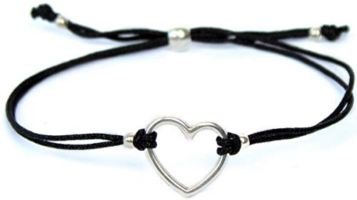 Milosa Herz Armband Silber - größenverstellbar - handmade - langlebig - fein verpacktes Geschenk für Damen & Mädchen, Armbänder Makramee:Schwarz - Makramee-stoff