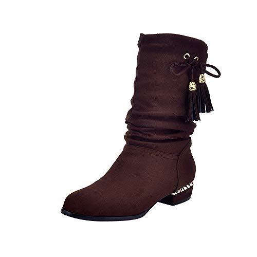 Sonnena Femmes Bottes Chaussures Femmes, Femme Chaudes Hiver/Dames Bottes Cuir/Bottes de Cow-Boy/Bottes High Tube Plates Fourrées/Boots Chaussures Casual/Classiques Chaudes Impermeables