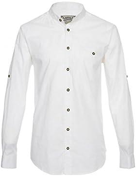 Hochwertiges Herren Trachtenhemd Weiß mit Stehkragen Gr.S-6XL