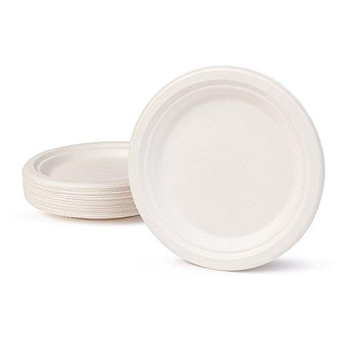BIOZOYG Vaisselle à Base Bagasse I 125 pièces d'assiettes du Canne de Sucre Blanche Ronds décolorée 17 cm I Bio jetable Vaisselle, Menu Plats et jetable fête Assiette
