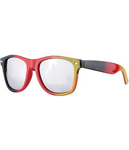 caripe Wayfarer Retro Nerd Sonnenbrille getönt + verspiegelt- viele Farben - W-g (One Size, Deutschland - silber verspiegelt)