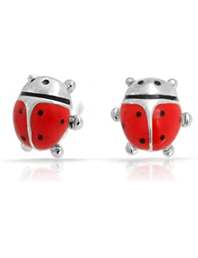 Petite Enamel Insect Bug Ladybug Stud Earrings Silver Plated