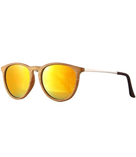 caripe Retro Sonnenbrille Damen Herren Hornbrille Vintage Brille verspiegelt + getönt - 139 (Holzoptik natur - sun verspiegelt-s961W)
