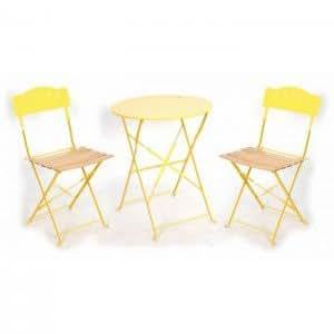 Table de balcon + 2 chaises métal Flower Yellow Couleur Jaune Matière Acier