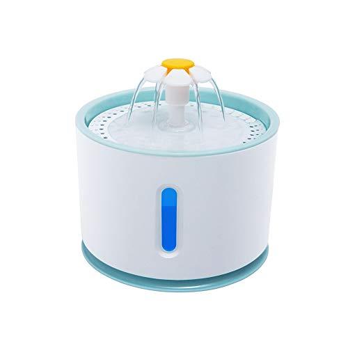 Ysoom Katzen Trinkbrunnen, Blumentrinkbrunnen Haustier Wasserbrunnen Pet Fountain 2.4 Liter Hunde Wasserspender Feeder Automatisch Wasserschale Leise Pumpe mit LED (Blue) - Wasserschale Hund Brunnen