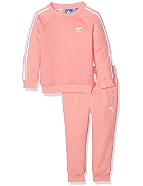 adidas Niños Quilted Forro Polar Crew Set, infantil, Quilted Fleece Crew, Ray Pink/Ray Pink, 5 años (110 cm)