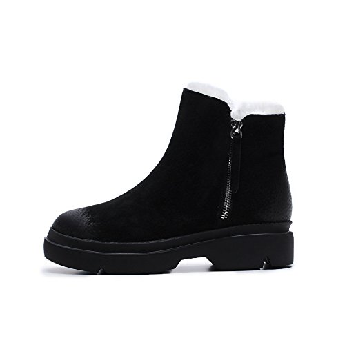 Damen short boots [herbst und winter] Niedrigen absätzen Echtes leder Martin stiefel Runder kopf Reißverschluss in der seite-schwarz Fußlänge=22.8CM(9Inch) (Stiefel Kleiden Herren Zip)